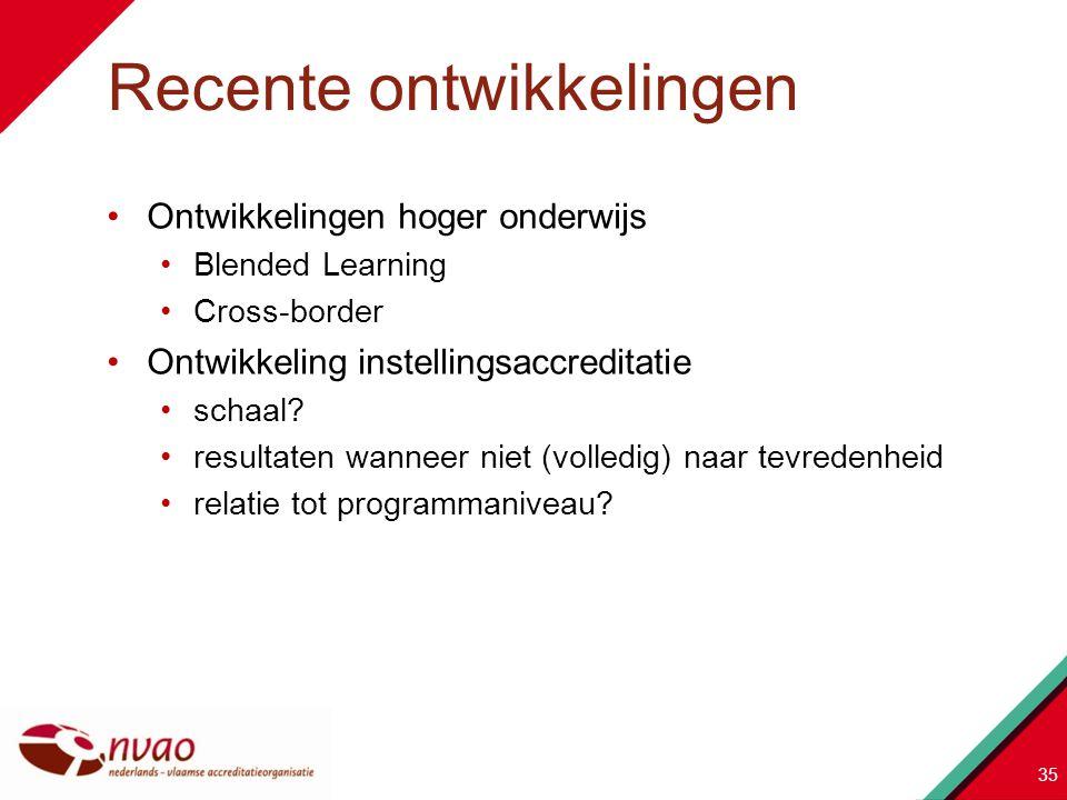 Ontwikkelingen hoger onderwijs Blended Learning Cross-border Ontwikkeling instellingsaccreditatie schaal? resultaten wanneer niet (volledig) naar tevr