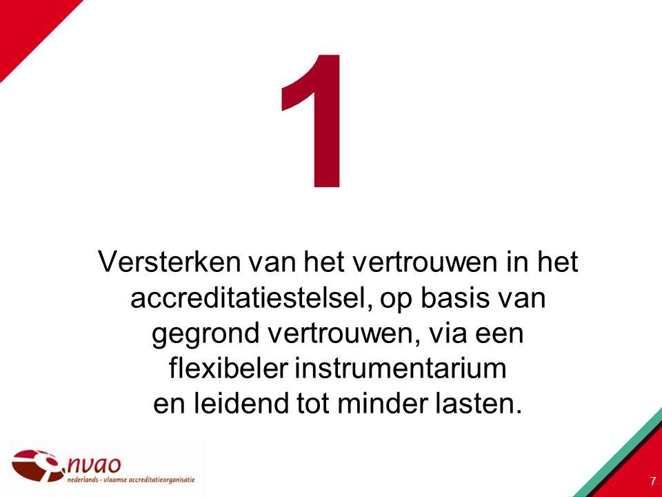 Versterken van het vertrouwen in het accreditatiestelsel, op basis van gegrond vertrouwen, via een flexibeler instrumentarium en leidend tot minder la