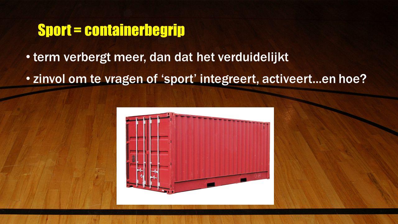 Sport = containerbegrip term verbergt meer, dan dat het verduidelijkt zinvol om te vragen of 'sport' integreert, activeert...en hoe