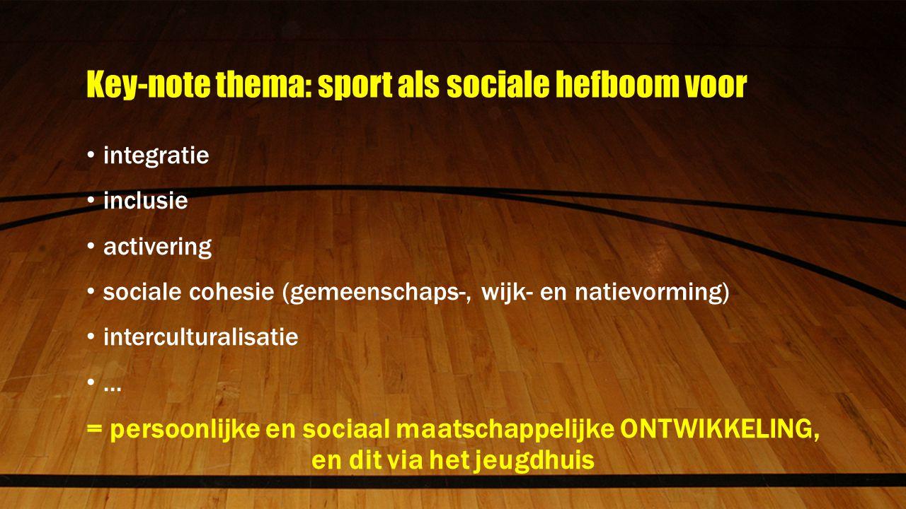 Key-note thema: sport als sociale hefboom voor integratie inclusie activering sociale cohesie (gemeenschaps-, wijk- en natievorming) interculturalisatie...