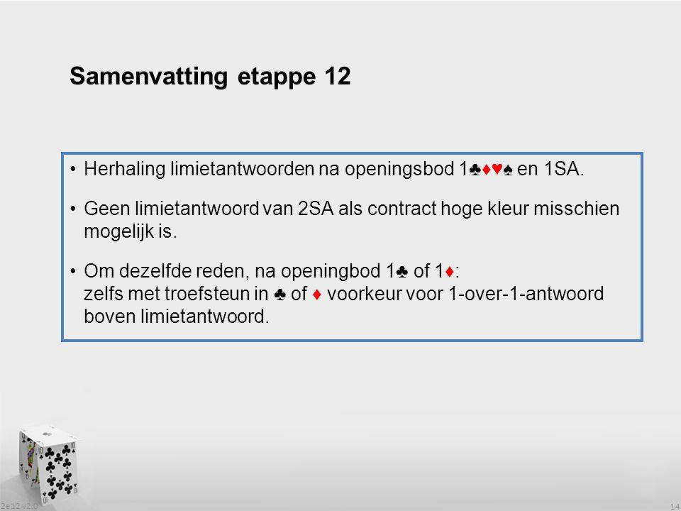 2e12 v2.0 14 Herhaling limietantwoorden na openingsbod 1♣♦♥♠ en 1SA.