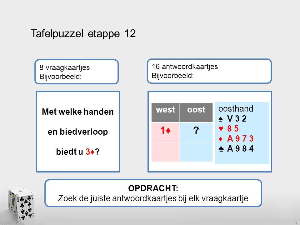2e12 v2.0 15 Tafelpuzzel etappe 12 OPDRACHT: Zoek de juiste antwoordkaartjes bij elk vraagkaartje 8 vraagkaartjes Bijvoorbeeld: 16 antwoordkaartjes Bijvoorbeeld: Met welke handen en biedverloop biedt u 3♦.