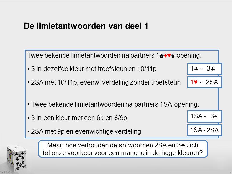 2e12 v2.0 4 De limietantwoorden van deel 1 Twee bekende limietantwoorden na partners 1♣♦♥♠-opening: 3 in dezelfde kleur met troefsteun en 10/11p 2SA met 10/11p, evenw.