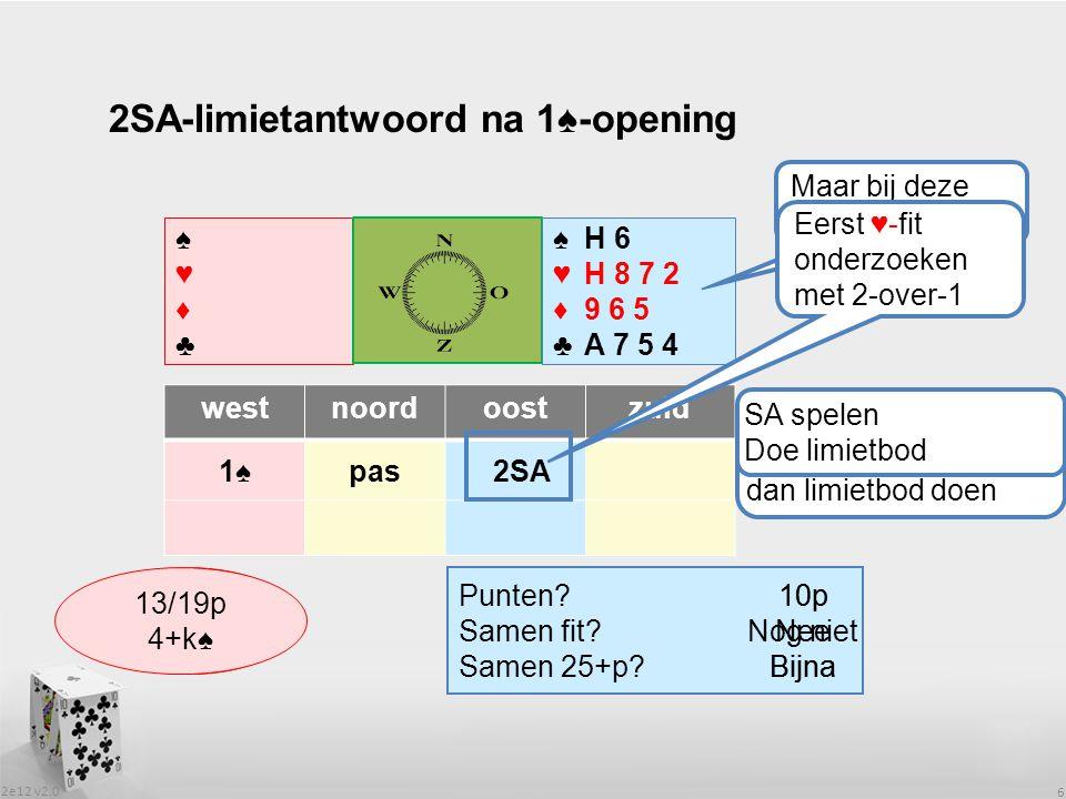 2e12 v2.0 6 2SA-limietantwoord na 1♠-opening ♠♥♦♣♠♥♦♣ ♠H 6 ♥H 8 7 ♦9 6 5 ♣A 7 5 4 westnoordoostzuid 1♠1♠pas Wat heeft partner.