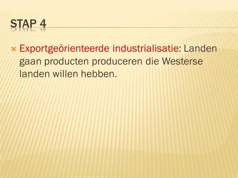  Exportgeörienteerde industrialisatie: Landen gaan producten produceren die Westerse landen willen hebben.