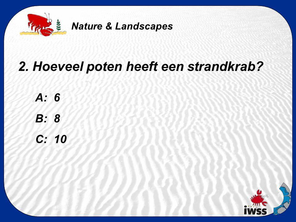 Nature & Landscapes 2. Hoeveel poten heeft een strandkrab? A: 6 B: 8 C: 10