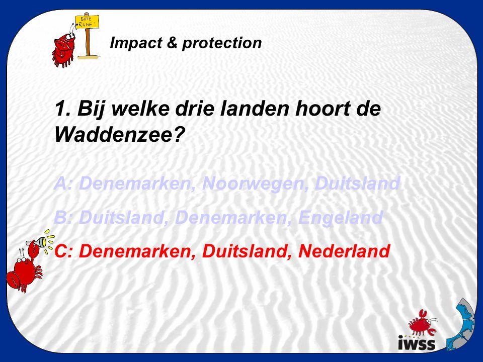 1. Bij welke drie landen hoort de Waddenzee? A: Denemarken, Noorwegen, Duitsland B: Duitsland, Denemarken, Engeland C: Denemarken, Duitsland, Nederlan