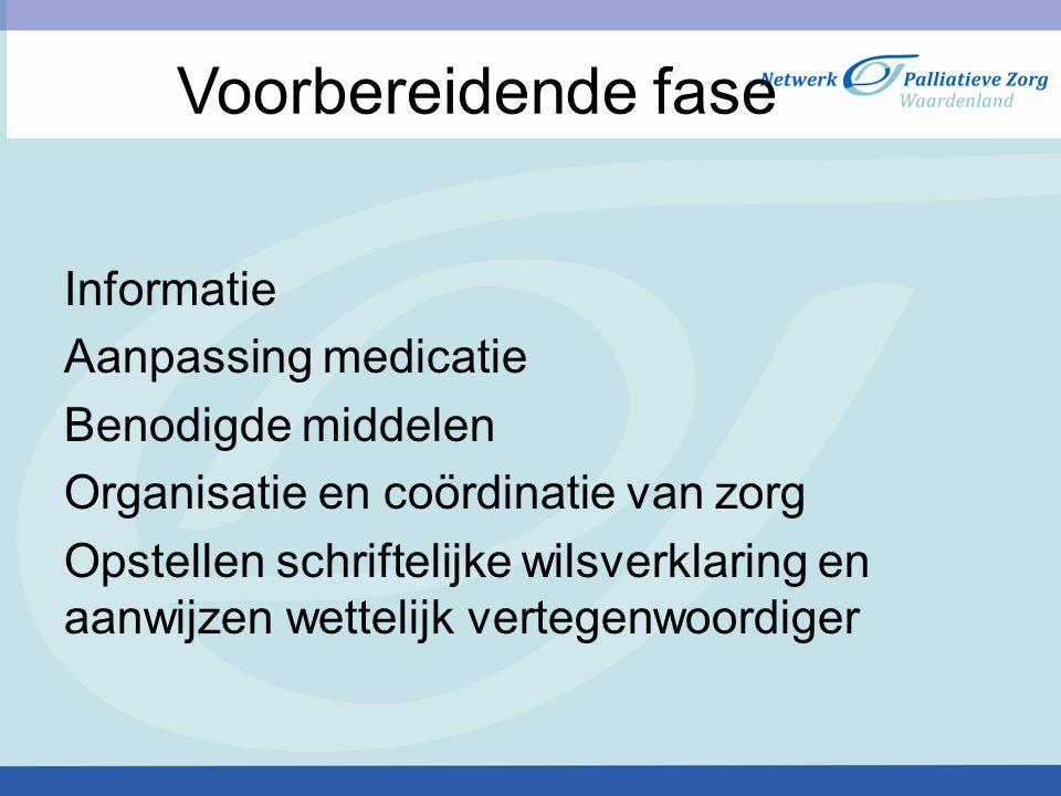 Informatie Aanpassing medicatie Benodigde middelen Organisatie en coördinatie van zorg Opstellen schriftelijke wilsverklaring en aanwijzen wettelijk v
