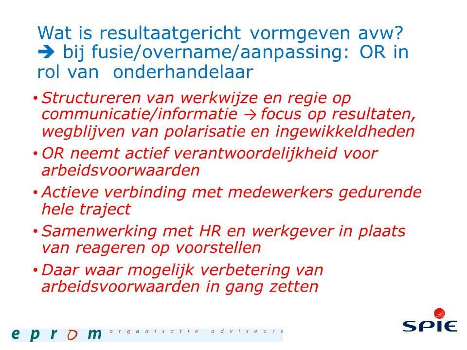 Wat is resultaatgericht vormgeven avw?  bij fusie/overname/aanpassing: OR in rol van onderhandelaar Structureren van werkwijze en regie op communicat
