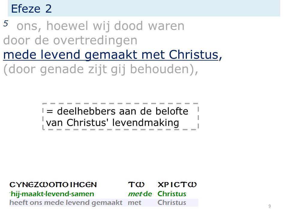 Efeze 2 5 ons, hoewel wij dood waren door de overtredingen mede levend gemaakt met Christus, (door genade zijt gij behouden), genade =vreugde om niet 10