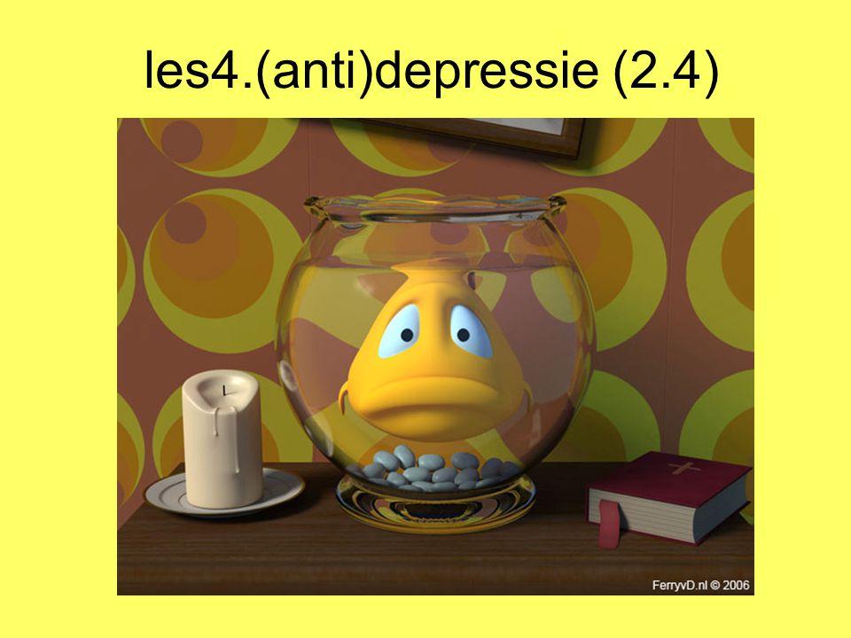2.4 antidepressiva NL 1 vd gelukkigste landen Maar …toch veel antidepressiva Trudy Dehue verklaart: 1- depressie van geestelijk → lichamelijk/biologisch 2- idee van levenslot in eigen handen hebben