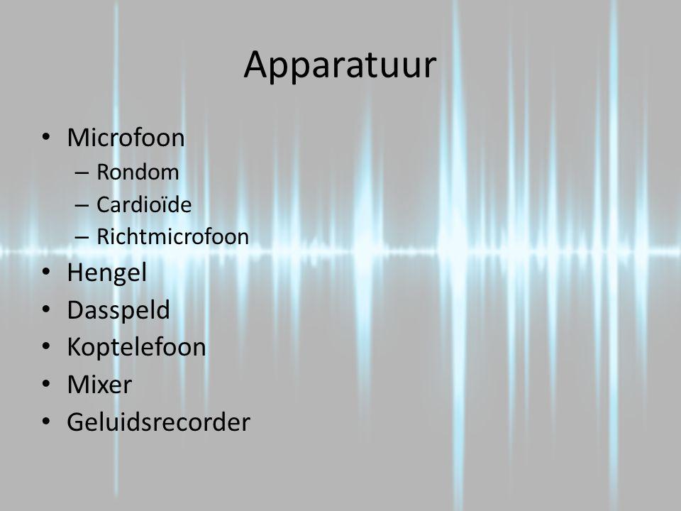 Soorten Opnames Gesloten opname – Geen akoestiek van de locatie – Microfoon dichtbij Open opname – Wel akoestiek van de locatie – Microfoon verder af  Meestal gesloten opname