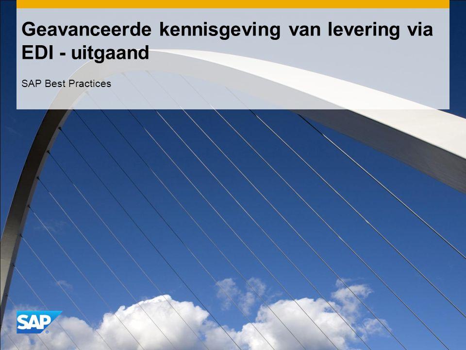 Geavanceerde kennisgeving van levering via EDI - uitgaand SAP Best Practices