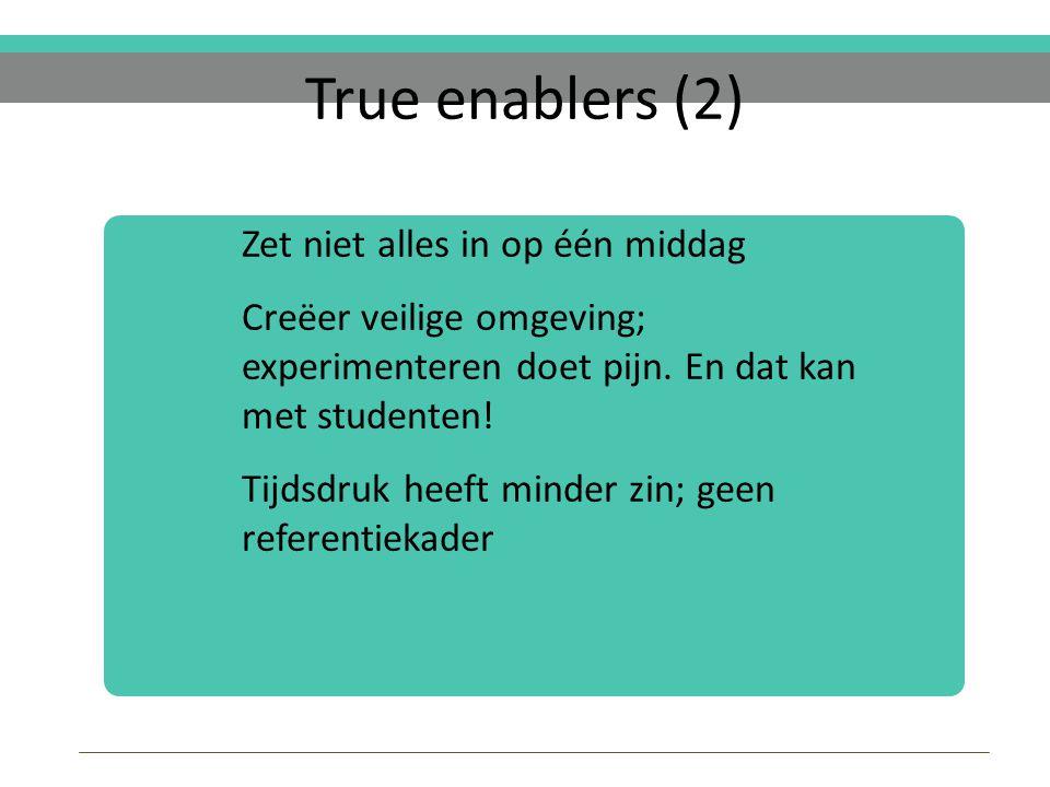 True enablers (2) Zet niet alles in op één middag Creëer veilige omgeving; experimenteren doet pijn.