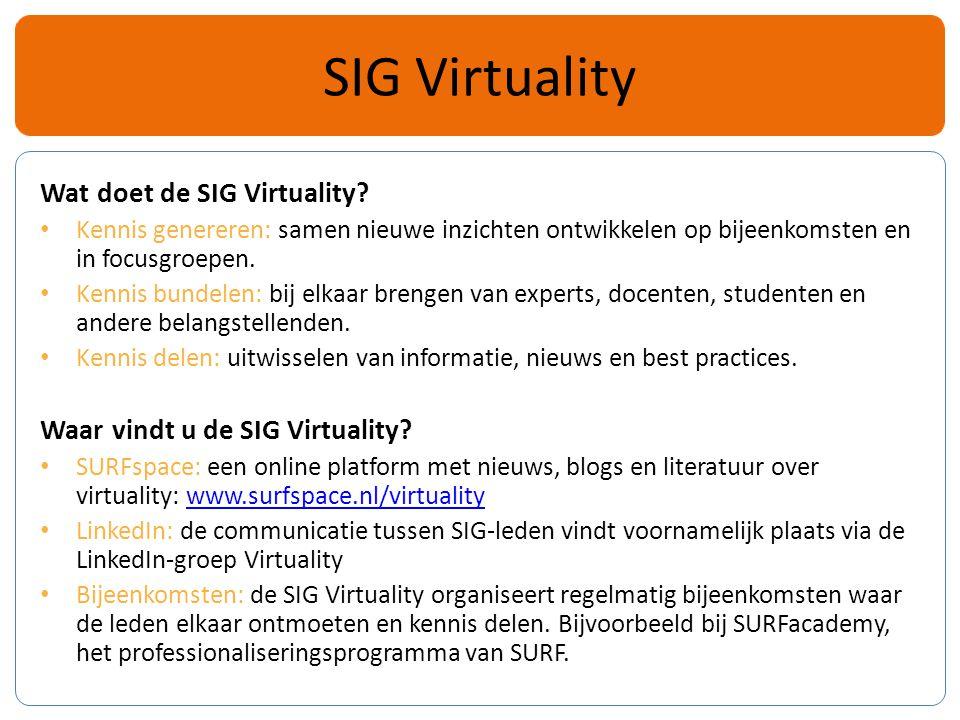 Wat doet de SIG Virtuality.