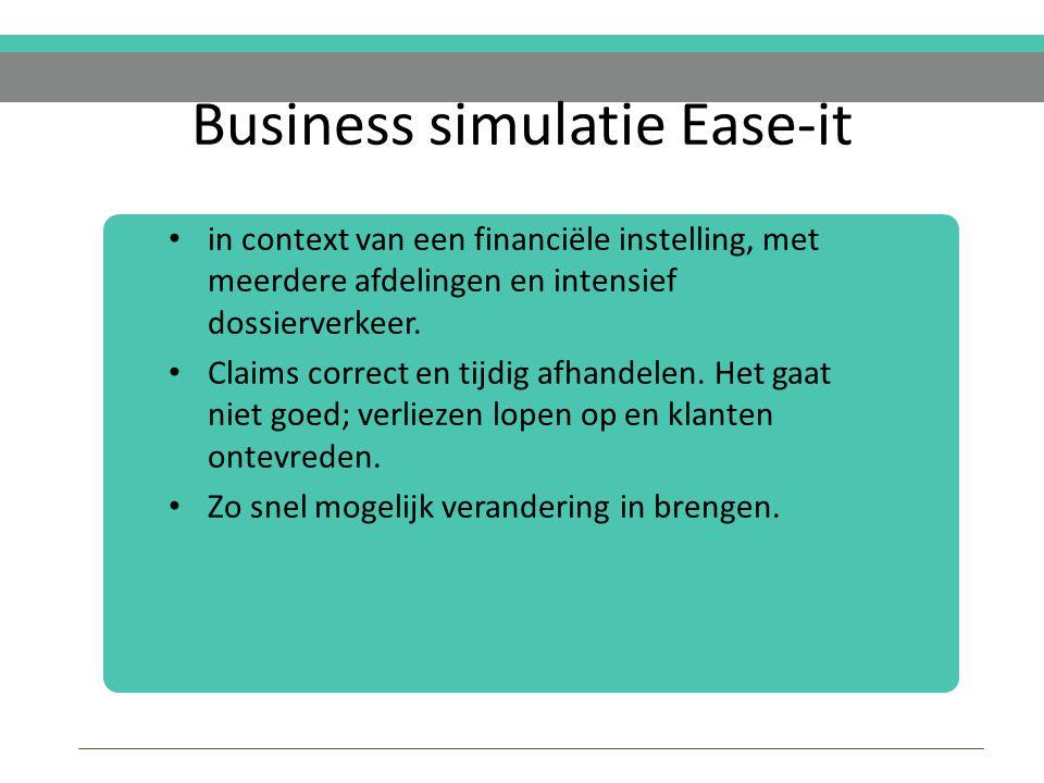 Business simulatie Ease-it in context van een financiële instelling, met meerdere afdelingen en intensief dossierverkeer.