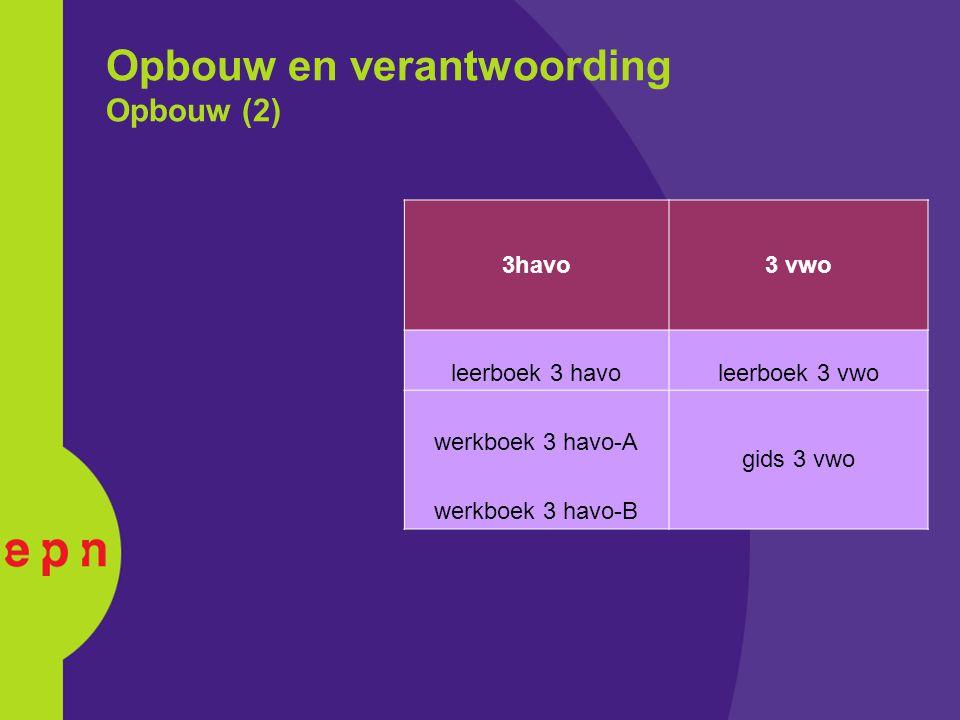 Opbouw en verantwoording Opbouw (2) 3havo3 vwo leerboek 3 havoleerboek 3 vwo werkboek 3 havo-A gids 3 vwo werkboek 3 havo-B