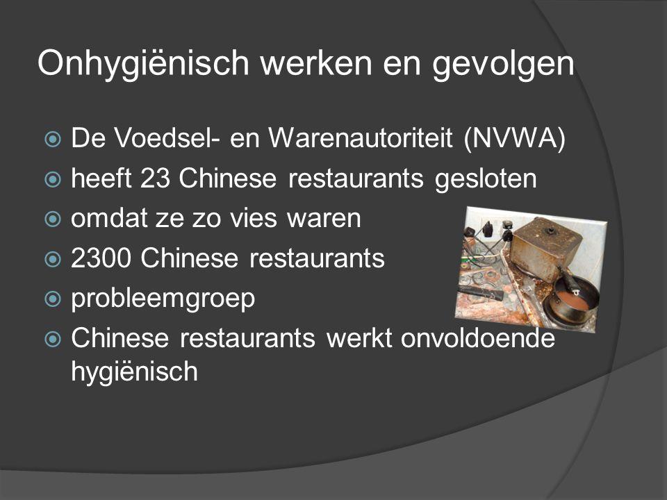 Onhygiënisch werken en gevolgen  De Voedsel- en Warenautoriteit (NVWA)  heeft 23 Chinese restaurants gesloten  omdat ze zo vies waren  2300 Chines
