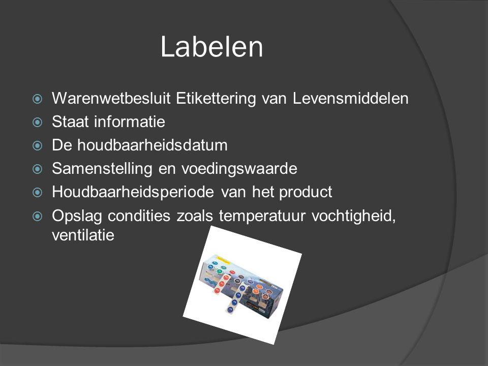 Labelen  Warenwetbesluit Etikettering van Levensmiddelen  Staat informatie  De houdbaarheidsdatum  Samenstelling en voedingswaarde  Houdbaarheids