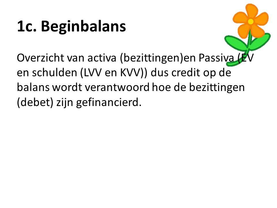 1c. Beginbalans Overzicht van activa (bezittingen)en Passiva (EV en schulden (LVV en KVV)) dus credit op de balans wordt verantwoord hoe de bezittinge