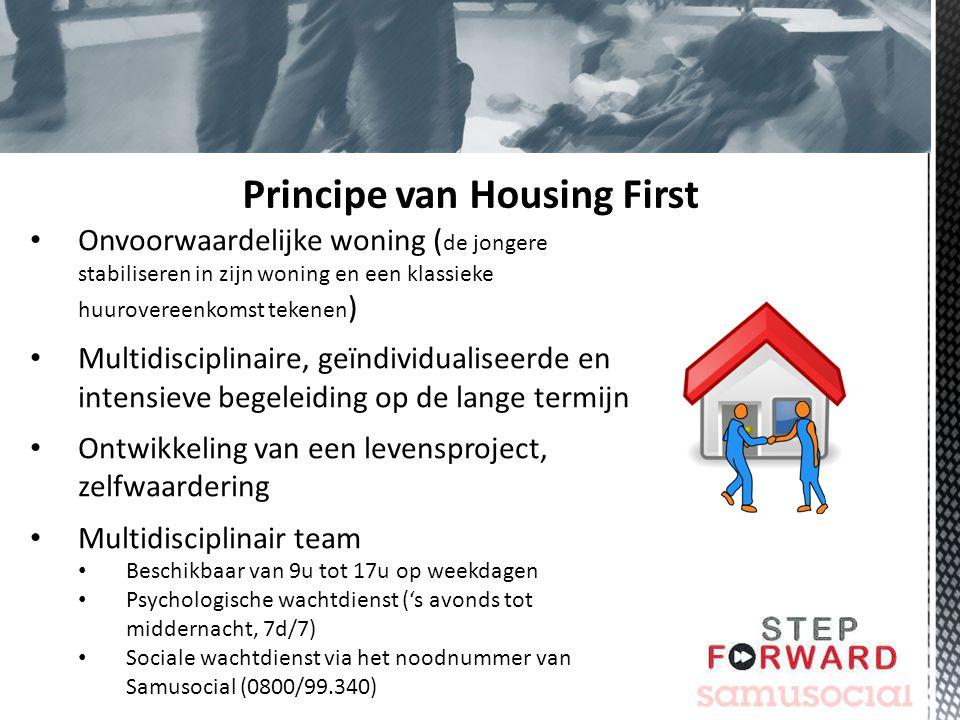 Onvoorwaardelijke woning ( de jongere stabiliseren in zijn woning en een klassieke huurovereenkomst tekenen ) Multidisciplinaire, geïndividualiseerde