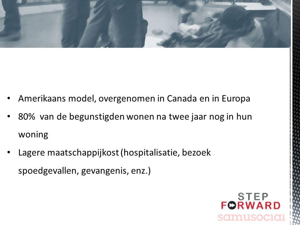 Amerikaans model, overgenomen in Canada en in Europa 80% van de begunstigden wonen na twee jaar nog in hun woning Lagere maatschappijkost (hospitalisa