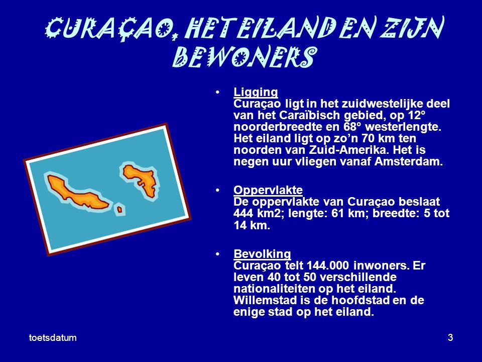 toetsdatum3 CURAÇAO, HET EILAND EN ZIJN BEWONERS Ligging Curaçao ligt in het zuidwestelijke deel van het Caraïbisch gebied, op 12° noorderbreedte en 6