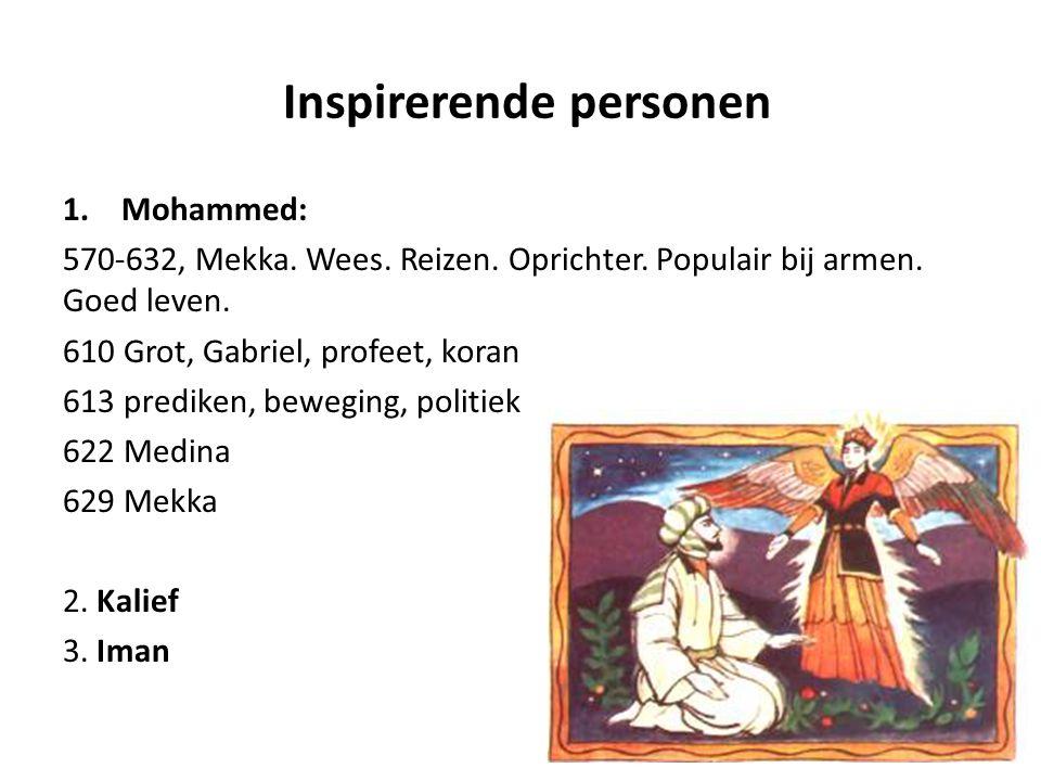1.Mohammed: 570-632, Mekka. Wees. Reizen. Oprichter. Populair bij armen. Goed leven. 610 Grot, Gabriel, profeet, koran 613 prediken, beweging, politie