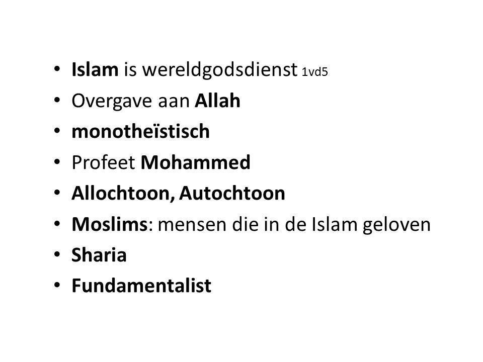 Islam is wereldgodsdienst 1vd5 Overgave aan Allah monotheïstisch Profeet Mohammed Allochtoon, Autochtoon Moslims: mensen die in de Islam geloven Shari