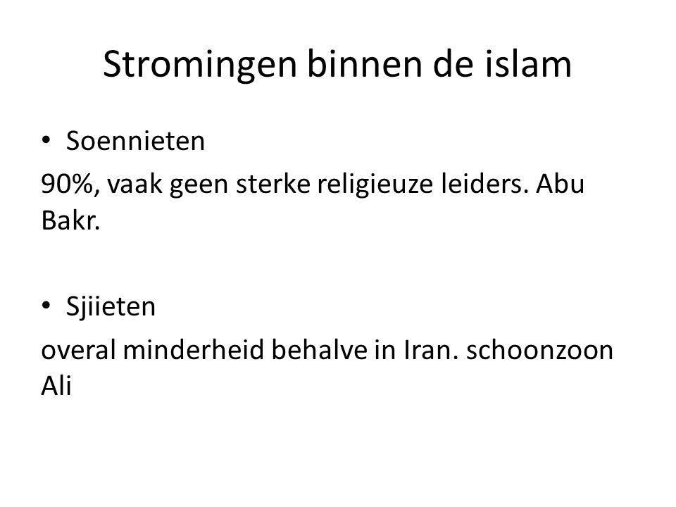 Stromingen binnen de islam Soennieten 90%, vaak geen sterke religieuze leiders. Abu Bakr. Sjiieten overal minderheid behalve in Iran. schoonzoon Ali
