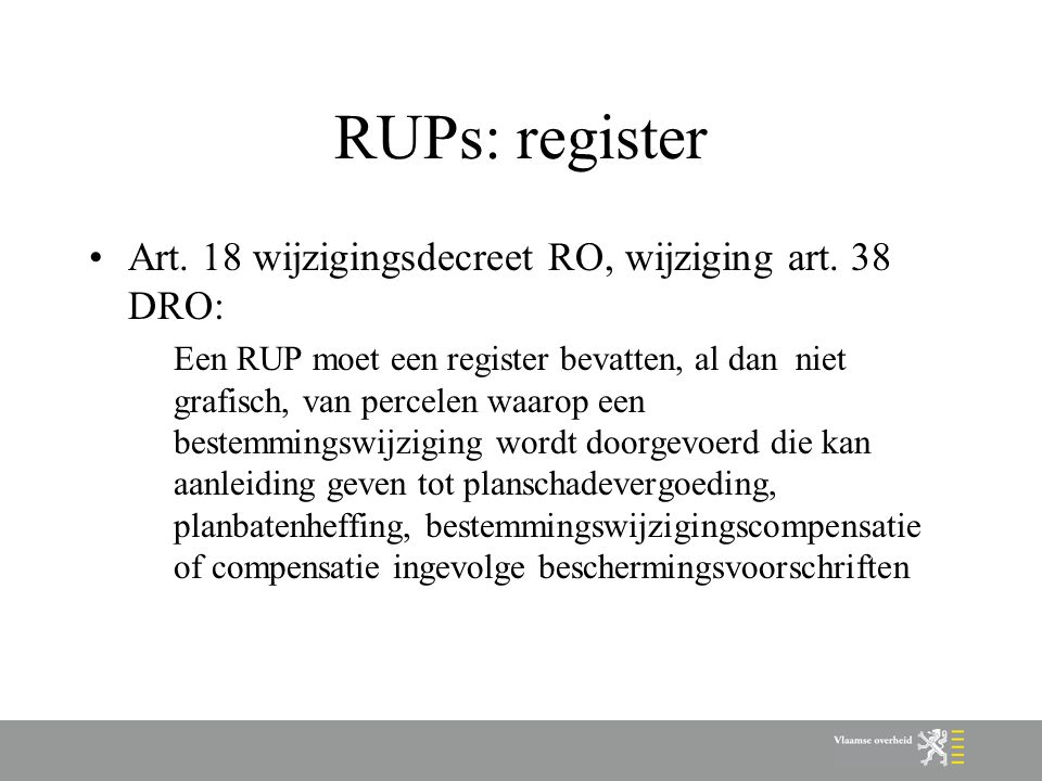 RUPs: register Art. 18 wijzigingsdecreet RO, wijziging art.