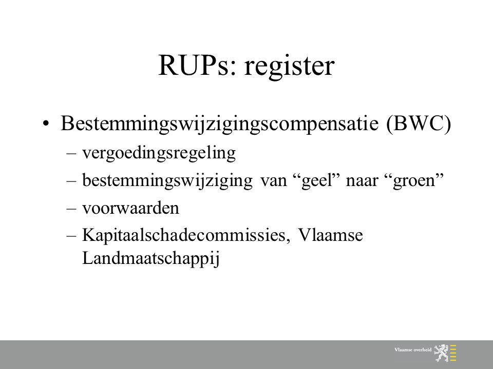 RUPs: register Bestemmingswijzigingscompensatie (BWC) –vergoedingsregeling –bestemmingswijziging van geel naar groen –voorwaarden –Kapitaalschadecommissies, Vlaamse Landmaatschappij