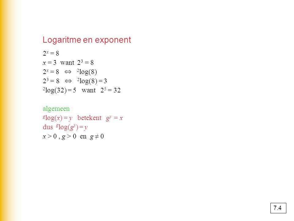 2 x = 8 x = 3 want 2 3 = 8 2 x = 8 ⇔ 2 log(8) 2 3 = 8 ⇔ 2 log(8) = 3 2 log(32) = 5 want 2 5 = 32 algemeen : g log(x) = y betekent g y = x dus g log(g y ) = y x > 0, g > 0 en g ≠ 0 Logaritme en exponent 7.4