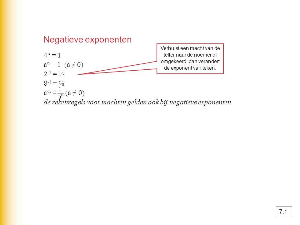 4° = 1 a° = 1 (a ≠ 0) 2 -1 = ½ 8 -1 = ⅛ a -n = (a ≠ 0) de rekenregels voor machten gelden ook bij negatieve exponenten Verhuist een macht van de teller naar de noemer of omgekeerd, dan verandert de exponent van teken.