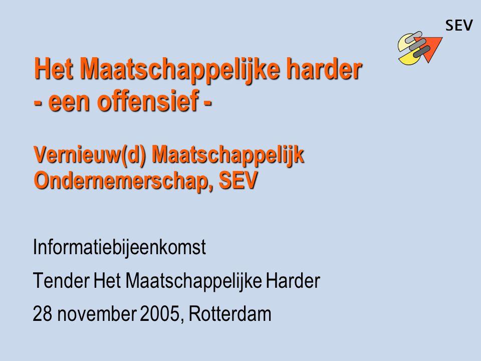 Het Maatschappelijke harder - een offensief - V ernieuw(d) Maatschappelijk Ondernemerschap, SEV Informatiebijeenkomst Tender Het Maatschappelijke Hard