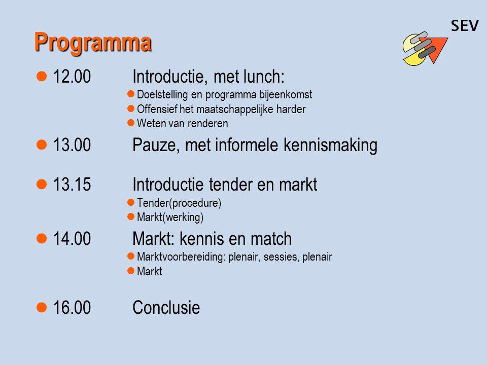 Programma 12.00Introductie, met lunch: Doelstelling en programma bijeenkomst Offensief het maatschappelijke harder Weten van renderen 13.00Pauze, met