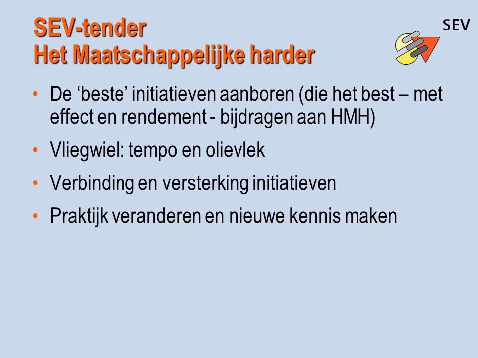 SEV-tender Het Maatschappelijke harder De 'beste' initiatieven aanboren (die het best – met effect en rendement - bijdragen aan HMH) Vliegwiel: tempo