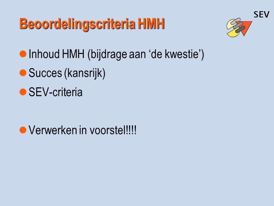 Beoordelingscriteria HMH Inhoud HMH (bijdrage aan 'de kwestie') Succes (kansrijk) SEV-criteria Verwerken in voorstel!!!!