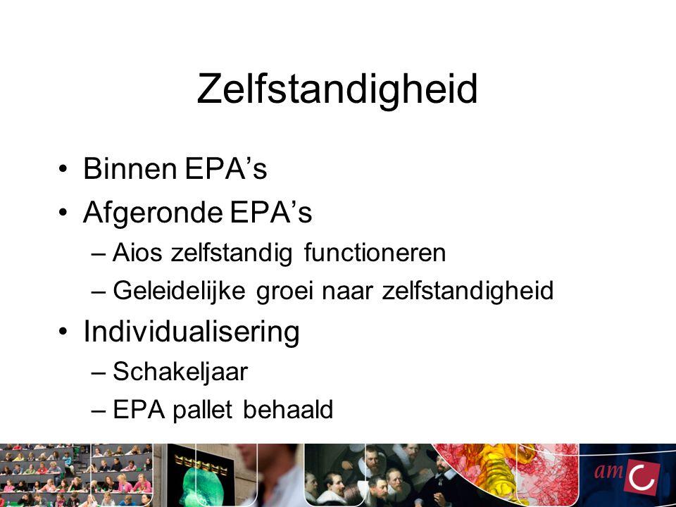 Zelfstandigheid Binnen EPA's Afgeronde EPA's –Aios zelfstandig functioneren –Geleidelijke groei naar zelfstandigheid Individualisering –Schakeljaar –EPA pallet behaald