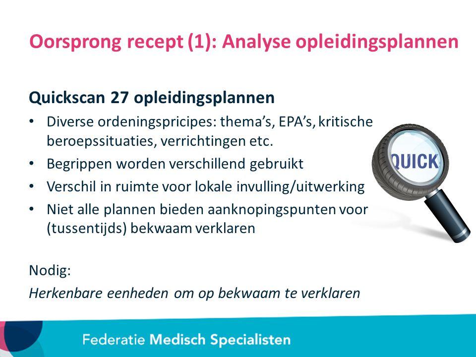 Oorsprong recept (1): Analyse opleidingsplannen Quickscan 27 opleidingsplannen Diverse ordeningspricipes: thema's, EPA's, kritische beroepssituaties, verrichtingen etc.