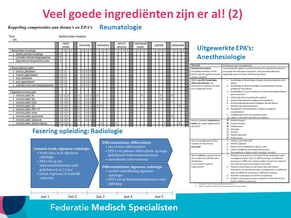 Veel goede ingrediënten zijn er al.