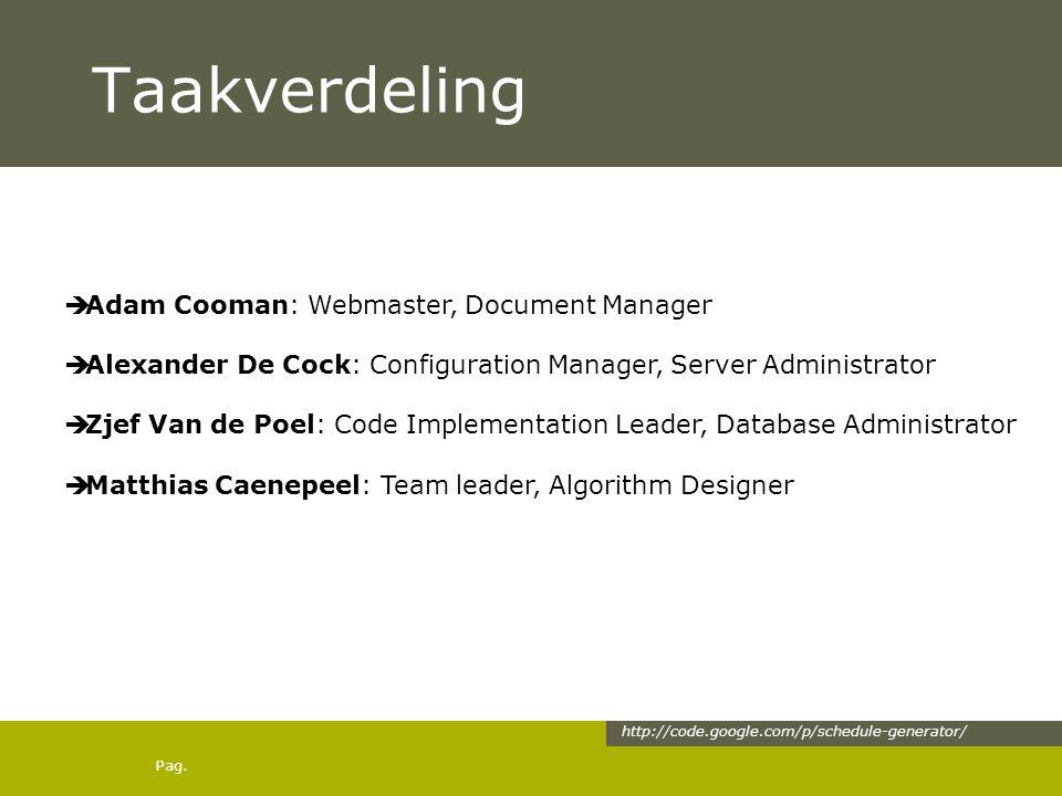 Pag. Taakverdeling  Adam Cooman: Webmaster, Document Manager  Alexander De Cock: Configuration Manager, Server Administrator  Zjef Van de Poel: Cod