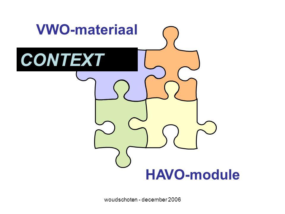 woudschoten - december 2006 VWO-materiaal HAVO-module CONTEXT