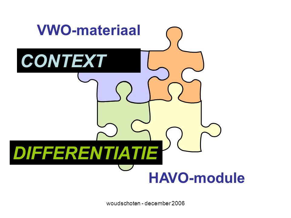 woudschoten - december 2006 VWO-materiaal HAVO-module CONTEXT DIFFERENTIATIE