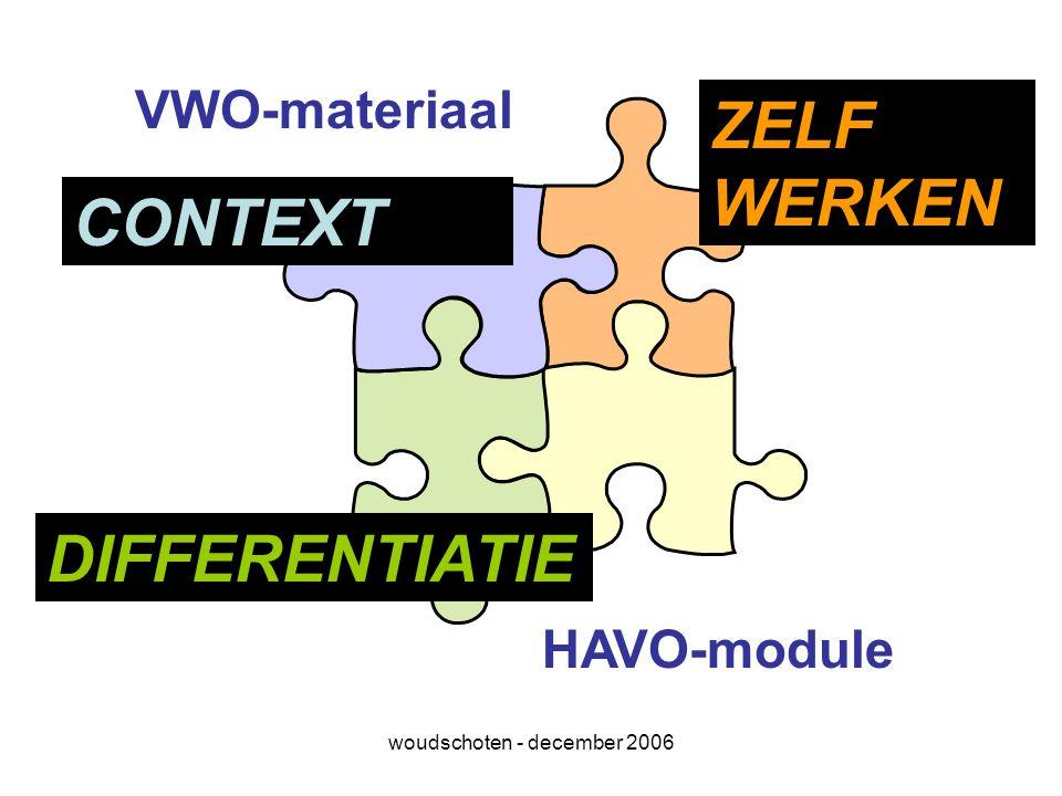 woudschoten - december 2006 VWO-materiaal HAVO-module CONTEXT DIFFERENTIATIE ZELF WERKEN