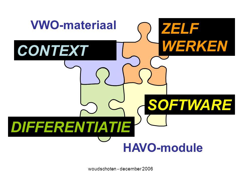 woudschoten - december 2006 VWO-materiaal HAVO-module CONTEXT DIFFERENTIATIE ZELF WERKEN SOFTWARE