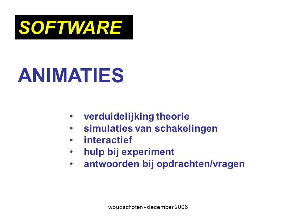 woudschoten - december 2006 ANIMATIES verduidelijking theorie simulaties van schakelingen interactief hulp bij experiment antwoorden bij opdrachten/vr