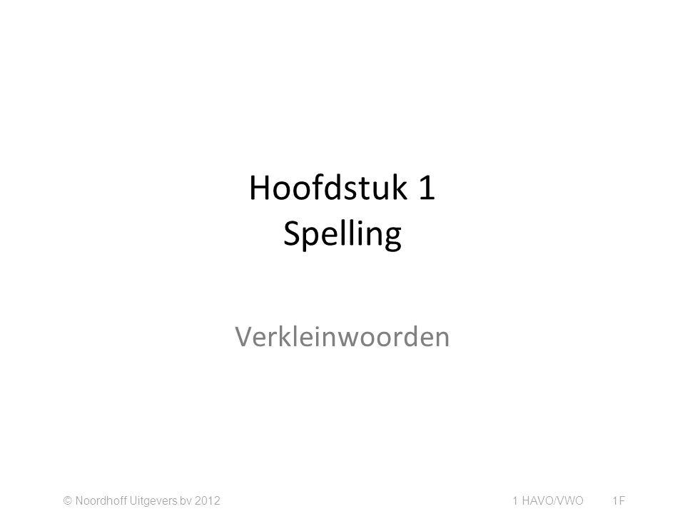 Hoofdstuk 1 Spelling Verkleinwoorden © Noordhoff Uitgevers bv 2012 1 HAVO/VWO 1F