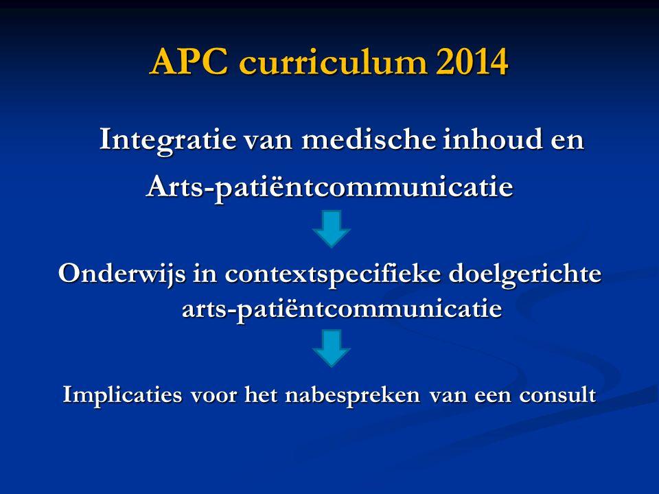 APC curriculum 2014 Integratie van medische inhoud en Arts-patiëntcommunicatie Onderwijs in contextspecifieke doelgerichte arts-patiëntcommunicatie Implicaties voor het nabespreken van een consult