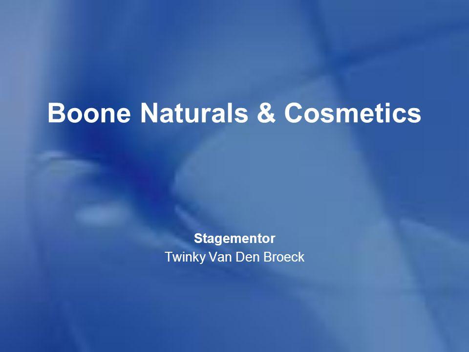 Boone Naturals & Cosmetics Opgericht in 1975 in Nederland In 1976 nieuwe firma in België Hele reeks van overnames en samenwerkingen In 1998 werd dhr.